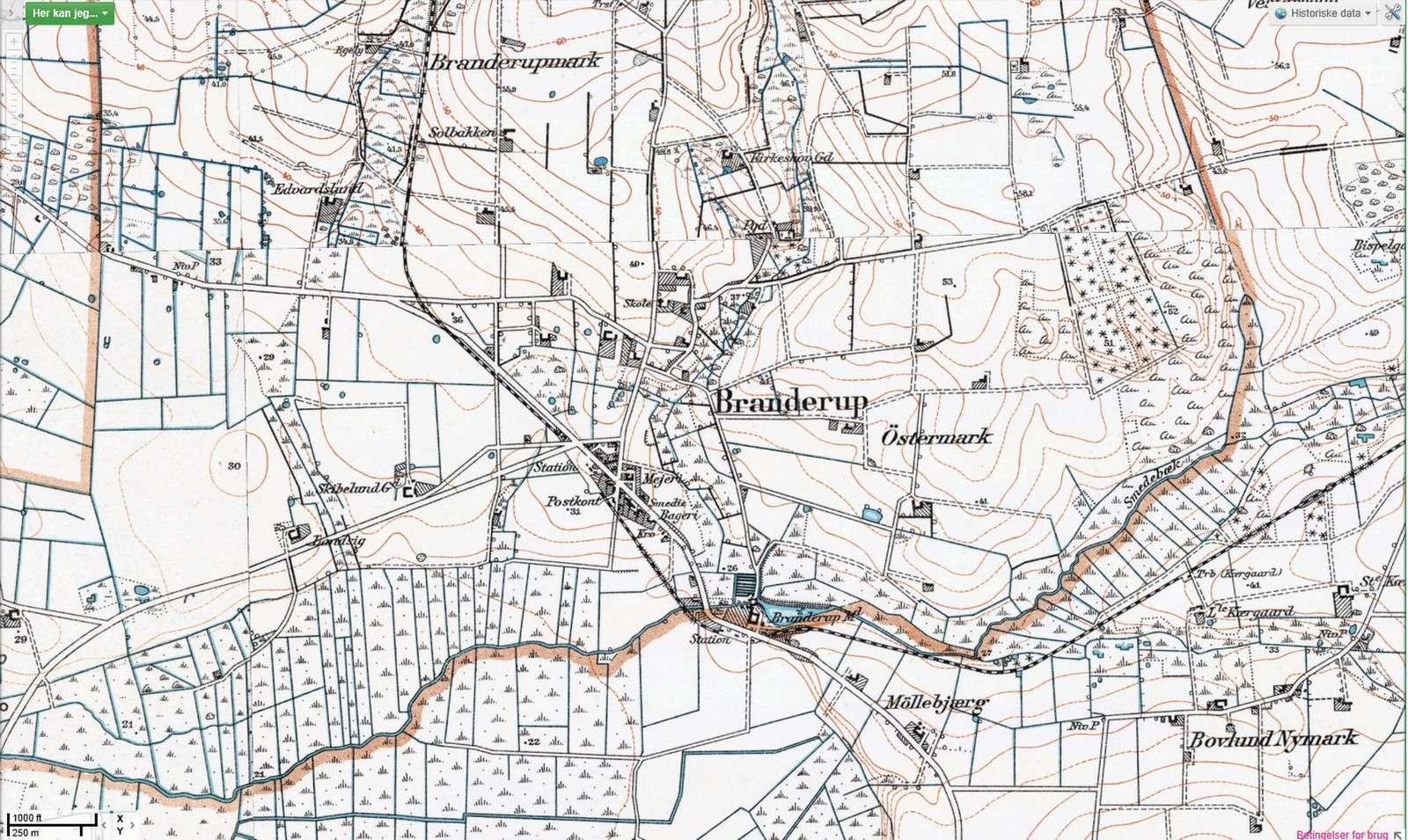 Historisk landkort krympet til hjemmesiden
