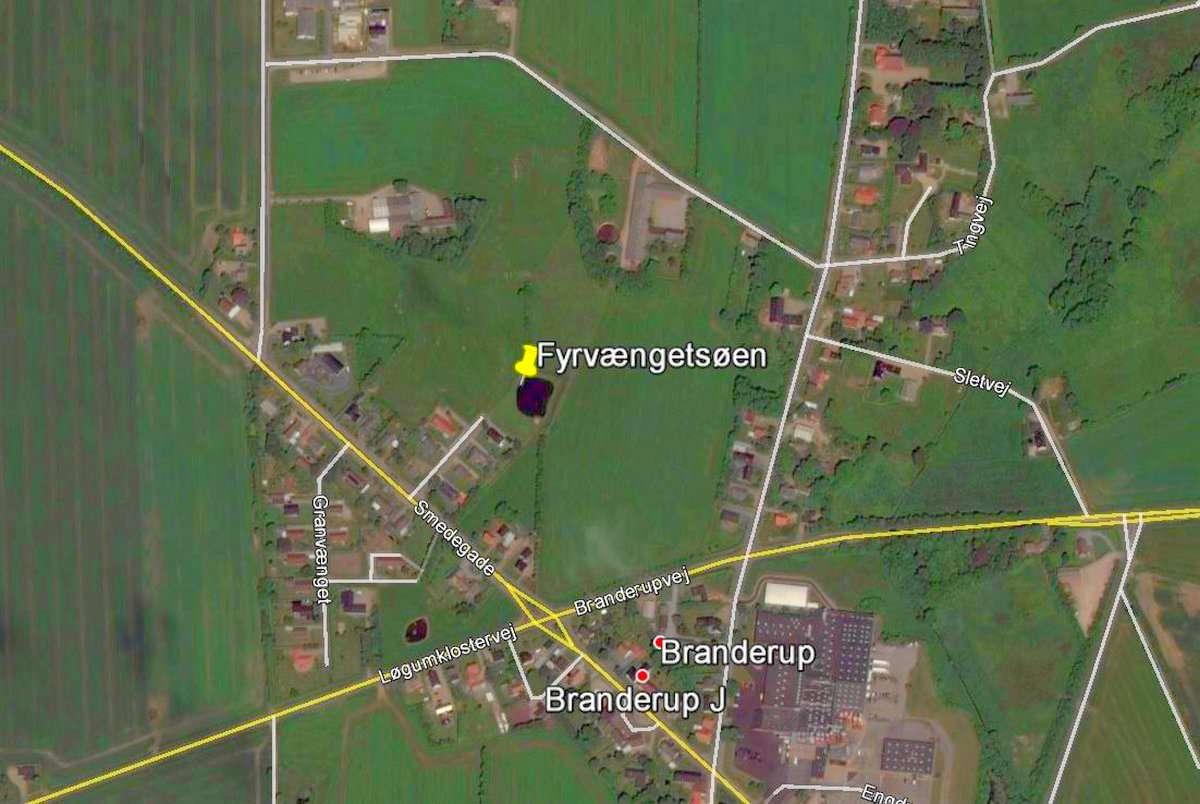 Fyrvængetsøen på Google Earth